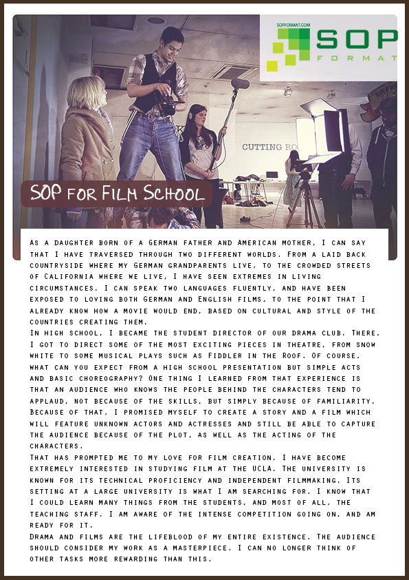 format of sop for film school
